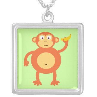 Cute Orange Cartoon Monkey Silver Plated Necklace