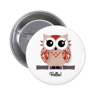 Cute orange cartoon owl personalized text box button