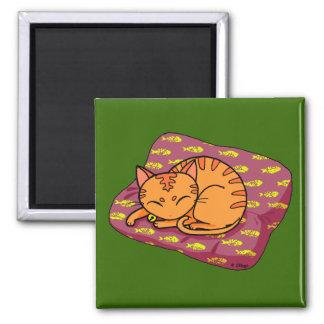 Cute orange cat sleeping 2 inch square magnet