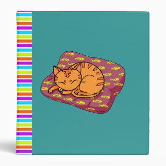 Cute orange cat sleeping binder