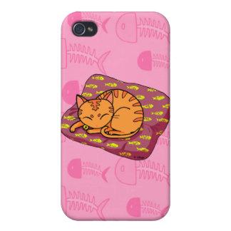 Cute orange cat sleeping iPhone 4 cover