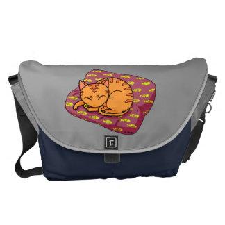 Cute orange cat sleeping messenger bag