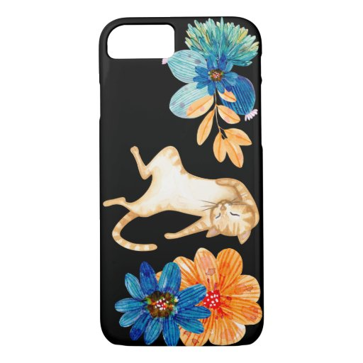 Cute Orange Cat Sleeping with Colorful Flowers iPhone 8/7 Case