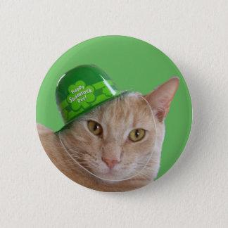 Cute Orange Cat Wearing an Irish Hat Button