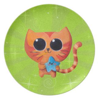 Cute Orange Cat with Star Dinner Plate
