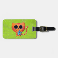 Cute Orange Cat With Star Luggage Tag at Zazzle