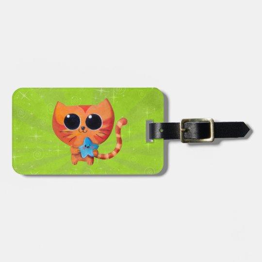 Cute Orange Cat with Star Luggage Tag