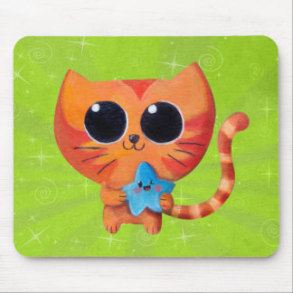 Cute Orange Cat with Star Mouse Pad