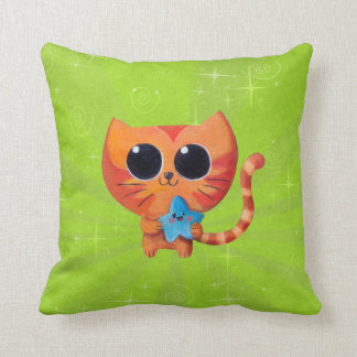 Cute Orange Cat with Star Pillows