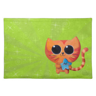 Cute Orange Cat with Star Place Mat