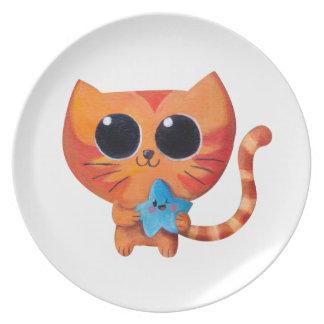 Cute Orange Cat with Star Plates