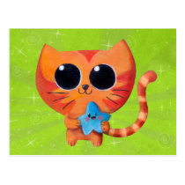 artsprojekt, cat, kitten, kitty, cute, kawaii, star, cute star, kawaii star, kawaii cat, cute cat, cute kitten, kawaii kitten, illustration cat, cuteness, cat gift, cat present, kawaii gift, kawaii present, illustration, children illustration, children, nursery, kid, kids, Cartão postal com design gráfico personalizado