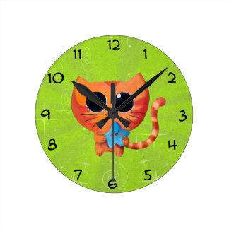 Cute Orange Cat with Star Round Clock