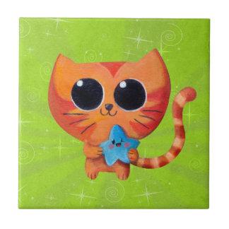 Cute Orange Cat with Star Tile