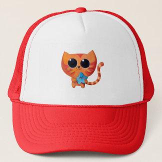 Cute Orange Cat with Star Trucker Hat