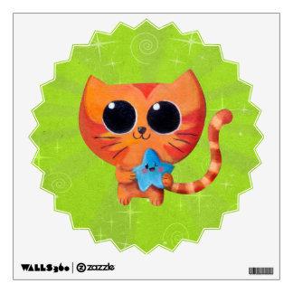 Cute Orange Cat with Star Wall Sticker