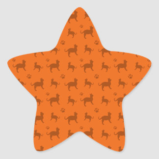 Cute orange cats and paws pattern star sticker