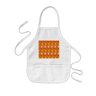 Cute orange chick bunny egg basket easter pattern kids' apron