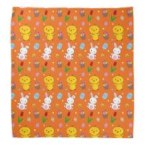 Cute orange chick bunny egg basket easter pattern bandana