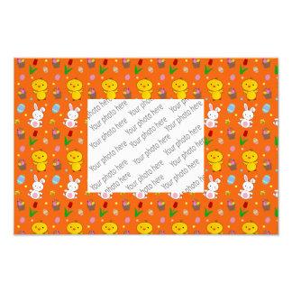 Cute orange chick bunny egg basket easter pattern photographic print