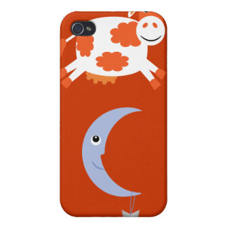 Cute Orange Cow Jumping Over The Moon Case For iPhone 4