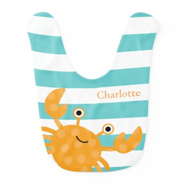 heartlocked Cute Orange Crab Baby Bib