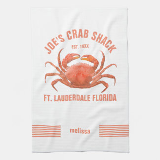 Cute Orange Crab Hand Watercolors Illustration Hand Towel
