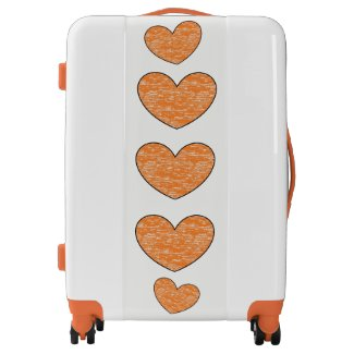 Orange Crayon Hearts Suitcase