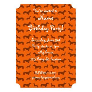 Cute orange dachshund pattern 5x7 paper invitation card