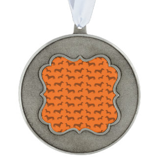 Cute orange dachshund pattern scalloped pewter ornament