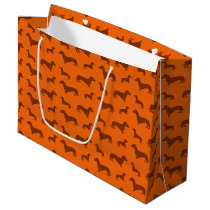Cute orange dachshund pattern large gift bag