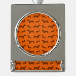 Cute orange dachshund pattern silver plated banner ornament