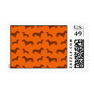 Cute orange dachshund pattern stamp