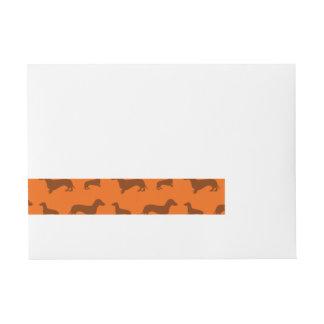 Cute orange dachshund pattern wraparound address label