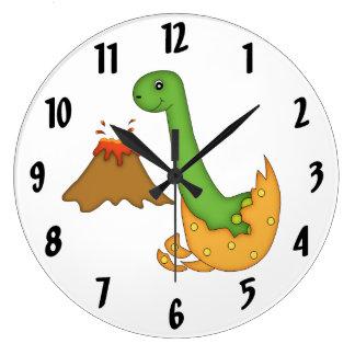 Cute Orange Dinosaur and Volcano Clock