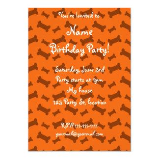 Cute orange dog bones pattern 5x7 paper invitation card