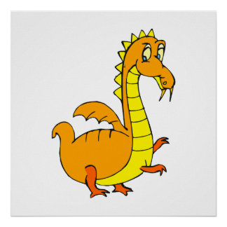 Cute Orange Dragon Poster