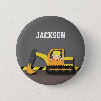 Cute Orange Excavator Construction Builder Boy Button