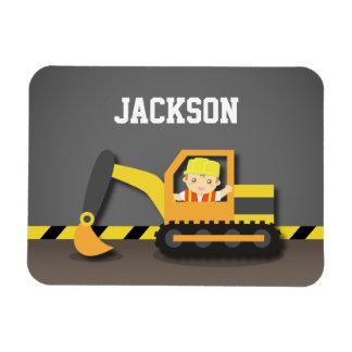 Cute Orange Excavator Construction Builder Boy Magnet