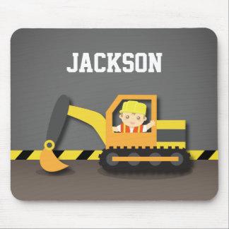 Cute Orange Excavator Construction Builder Boy Mouse Pad