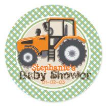 Cute Orange Farm Tractor; Green Plaid Baby Shower Classic Round Sticker