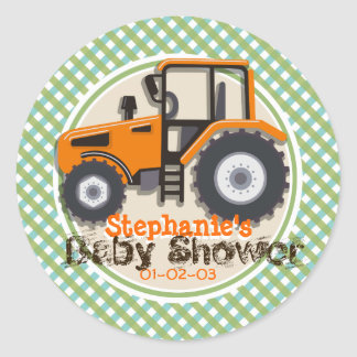 Cute Orange Farm Tractor; Green Plaid Baby Shower Classic Round Sticker