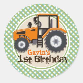 Cute Orange Farm Tractor Green Plaid Birthday Round Sticker
