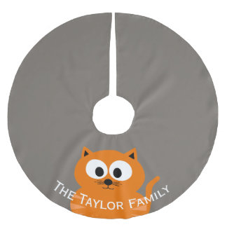 Cute Orange Fat Cat with Taupe Personalized Brushed Polyester Tree Skirt