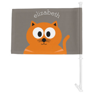Cute Orange Fat Cat with Taupe Personalized Car Flag