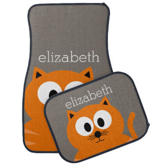 Cute Orange Fat Cat with Taupe Personalized Car Floor Mat