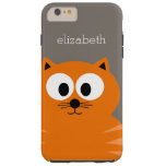 Cute Orange Fat Cat with Taupe Personalized Tough iPhone 6 Plus Case