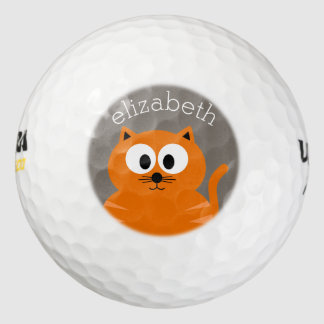 Cute Orange Fat Cat with Taupe Personalized Golf Balls