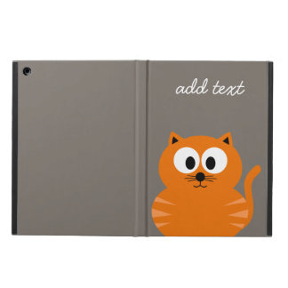Cute Orange Fat Cat with Taupe Personalized iPad Air Cover