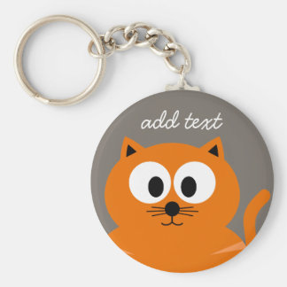 Cute Orange Fat Cat with Taupe Personalized Keychain